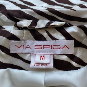 Via Spiga Brown zebra fabric Rain/Trench Coat
